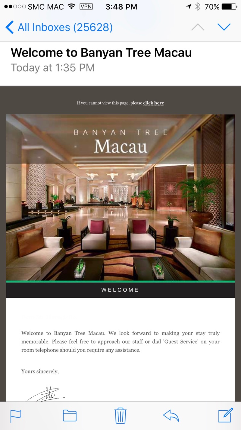 Banyan Tree Macau Review 2016 Welcome Email