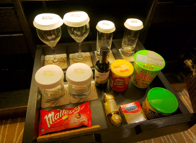 Sands Macao Deluxe Suite Review 2016 Minibar Snacks Barware